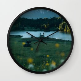 Sunrise at a mountain lake with forest - Landscape Photography Wall Clock
