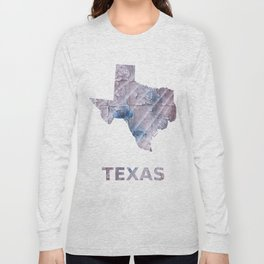 Texas map outline Dark gray stained watercolor pattern Long Sleeve T-shirt