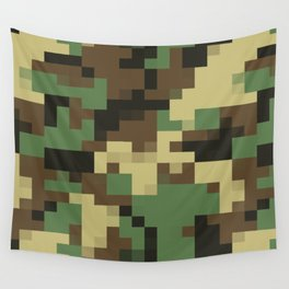 Army Camouflage Pixelated Pattern Green Brown Mountain Wall Tapestry