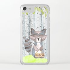 The adorable Racoon- Woodland Friends- Watercolor Illustration Clear iPhone Case