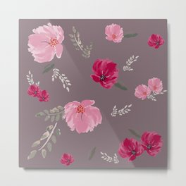 Watercolor pink & red peonies on dusty pink background Metal Print