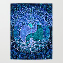 Tree of Life Yin Yang Blue Poster