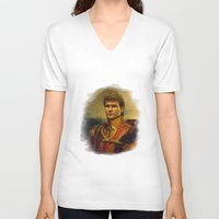 patrick V-neck T-shirts featuring Patrick Swayze - replaceface by replaceface