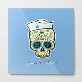 Dia de los Muertos/mexican sailor skull Metal Print