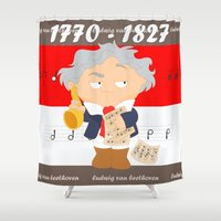 beethoven Shower Curtains featuring Ludwig van Beethoven by Alapapaju
