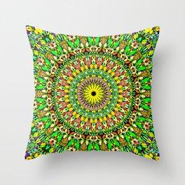 Floral Sun Garden Mandala Throw Pillow