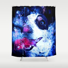 jack russell terrier dog crazy eyes ws cb Shower Curtain