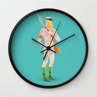 aquaman Wall Clocks featuring Rocker Aquaman blue by Andres Moncayo