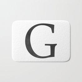 Letter G Initial Monogram Black and White Bath Mat