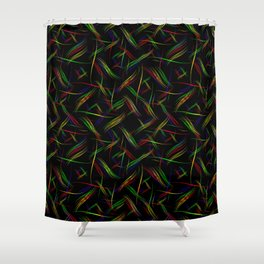Multicolored smooth curved lines in a neon bright background for a festive mood. Shower Curtain
