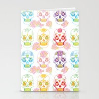 sugar skulls Stationery Cards featuring Sugar Skulls by Bird & Bow Studios