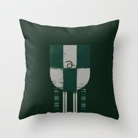 slytherin Throw Pillows featuring slytherin crest by nisimalotse