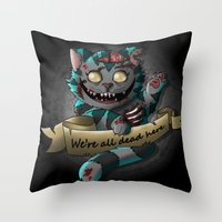 gore Throw Pillows featuring Chesire cat gore by trevacristina