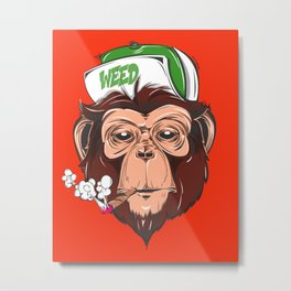The Stylish Monkey, Weed Smoker Metal Print