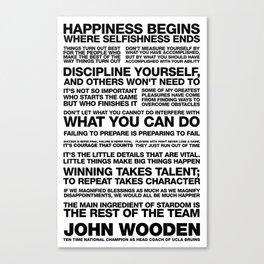 John Wooden Motivational Quotes Canvas Print