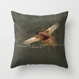 Male pheasant in flight Throw Pillow