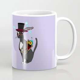 A Steampunk Cat with Lavender Background Coffee Mug