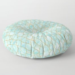 Luxury Aqua and Gold oriental pattern Floor Pillow