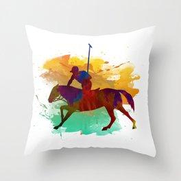 Polo player Throw Pillow