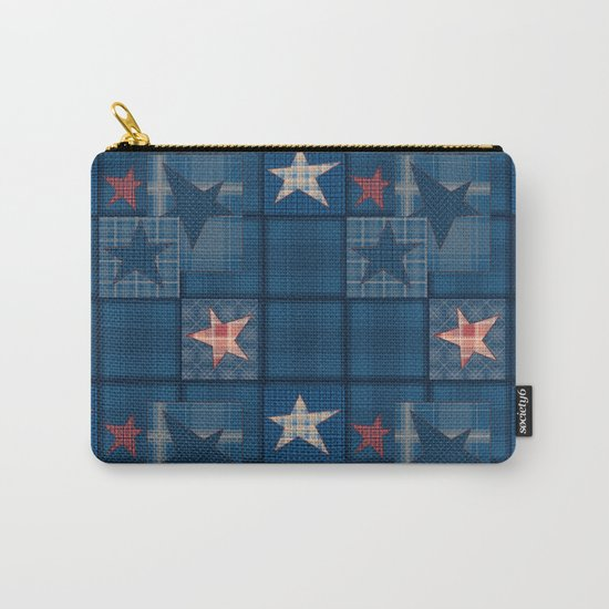 Blue denim patchwork . Carry-All Pouch