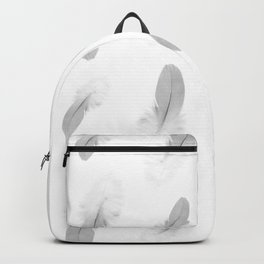 soft grey feather pattern Backpack