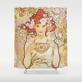 Rose by Alphonse Mucha 1897 // Vintage Girl with Red Hair Floral Love Design Shower Curtain
