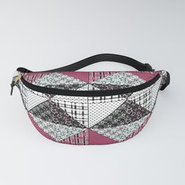 Beautiful red black white patchwork . Fanny Pack