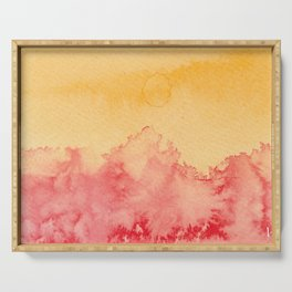 Abstract landscape watercolor 2 Serving Tray