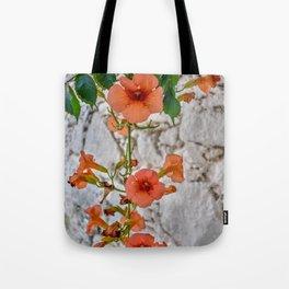 Trumpet Flowers, Greece Tote Bag