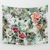 garden Wall Tapestries featuring Rose Garden by RIZA PEKER