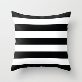 Rich black (FOGRA39) - solid color - white stripes pattern Throw Pillow