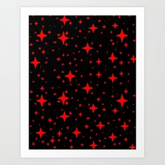 Bright Red Stars in Space , Cristmas Stars Art Print