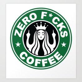 Starbucks Logo Parody - Zero Fucks - Middle Finger - Flipping Off - Funny - Humor - Cafe - Coffee Art Print
