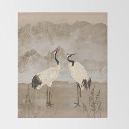 Wintering Manchurian Cranes Throw Blanket
