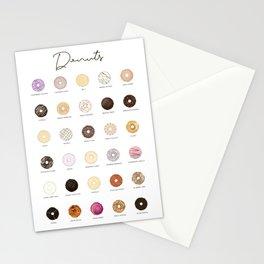 Donut types Stationery Cards