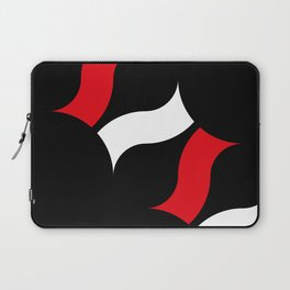 Little white and red tapes floating in a row in a black space Laptop Sleeve