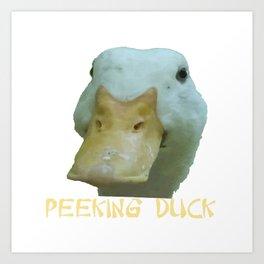 Peeking Duck With Fun Oriental Text Art Print