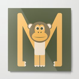 Letter M // Animal Alphabet // Monkey Monogram Metal Print