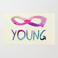 forever young Area & Throw Rugs featuring Forever Young by Jacqueline Maldonado