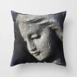 Beautiful angel face grey in clay Throw Pillow