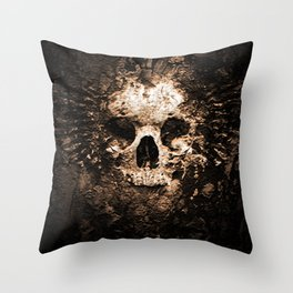 Skull Face Scary Throw Pillow
