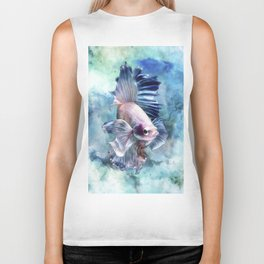 Watercolor Fish Biker Tank