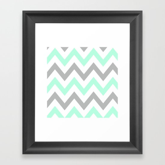 MINT & GRAY CHEVRON Framed Art Print