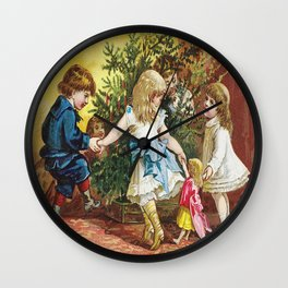 Vintage Christmas Card 1880 Julekort Wall Clock