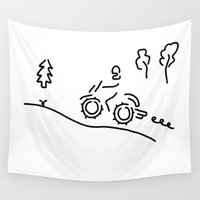 sport Wall Tapestries featuring motorcycle sport offroad moto cross by Lineamentum