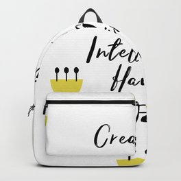 Black and Yellow Cute Saying - Creativity is Intelligence Having Fun Backpack