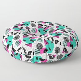 Cha Ching - abstract throwback memphis retro 80s 90s pop art grid shapes Floor Pillow