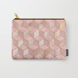 PINK CHAMPAGNE GRADIENT CUBE PATTERN (Gold Lined) Carry-All Pouch