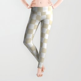 Small Checkered - White and Pearl Brown Leggings