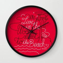 WOODY BEACH Dark pink Wall Clock